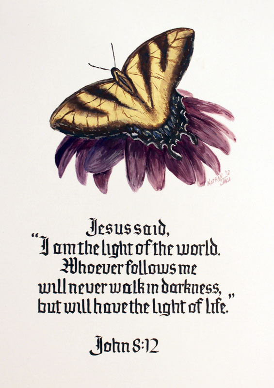 John 8:12 - Calligraphy with butterfly