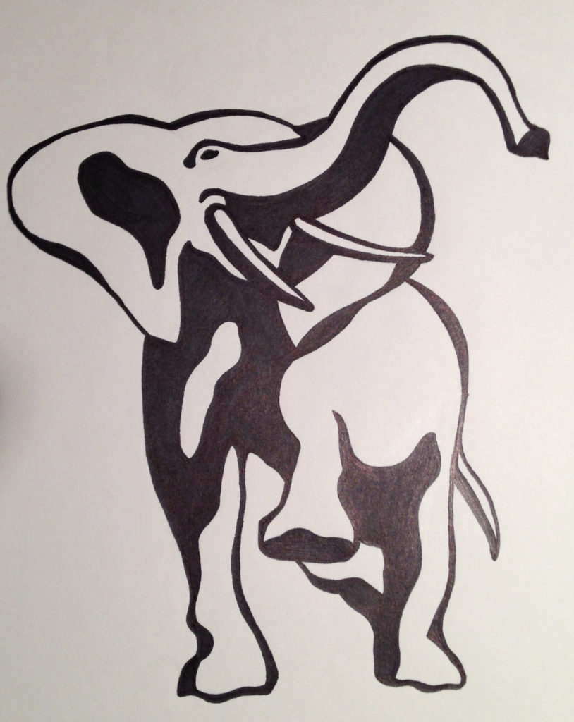 Original elephant marker drawing